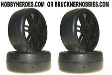 1:8 GRP GT Rubber GTX02-S3  Soft Slick Tires (4) Black Spoke Rims Free Ship