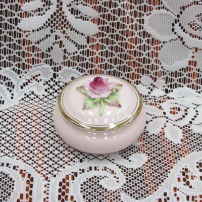ADDERLEY FLORAL BONE CHINA TRINKET BOX PRETTY PINK ROSE STAFFORDSHIRE VINTAGE