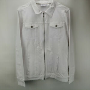 Denim & Co. Comfy Knit Denim Zip-Front Jean Jacket White M  A349249