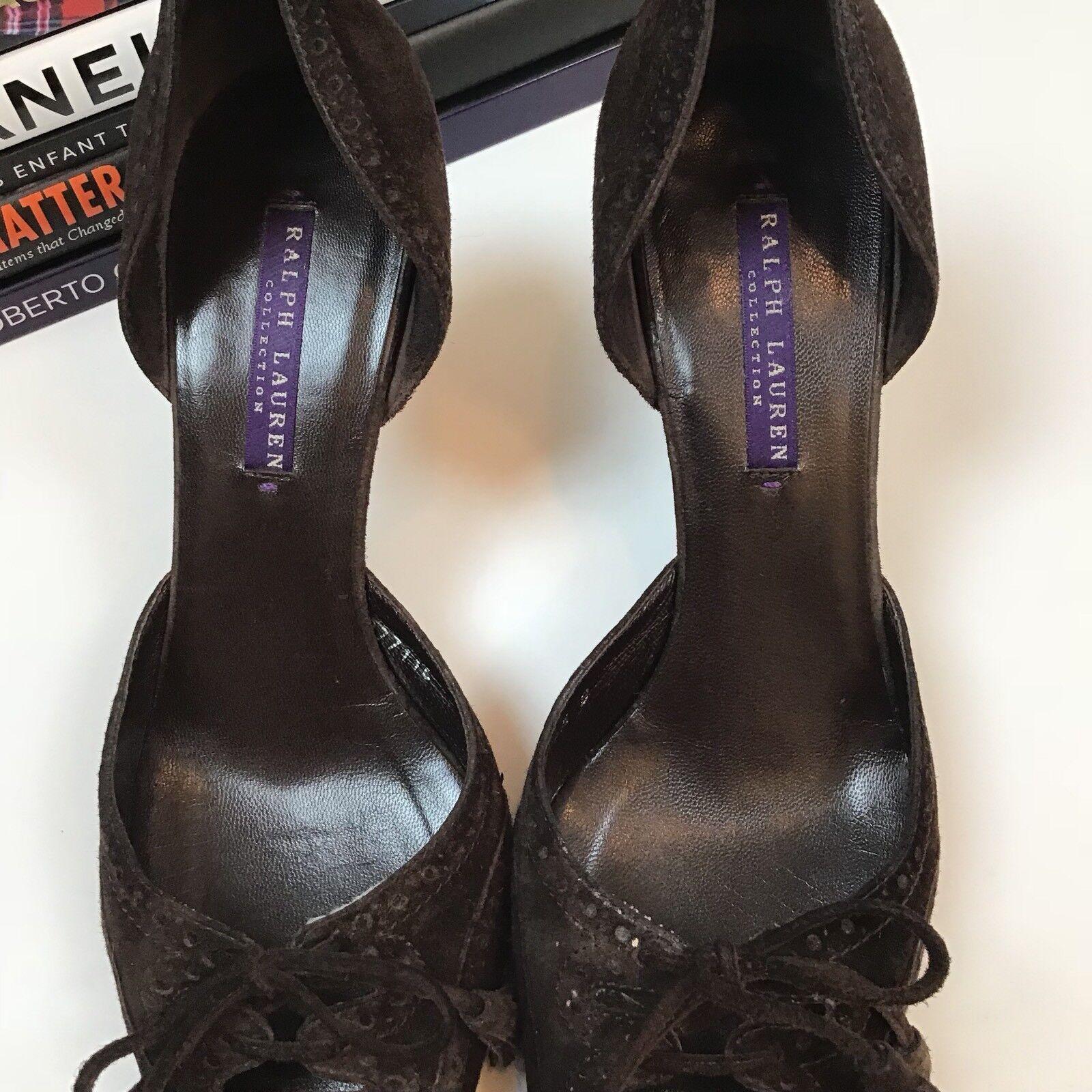 Ralph Lauren Lauren Lauren Collection lila Label Heels 8.5 B braun Printed Toe Suede Bow 4de40a