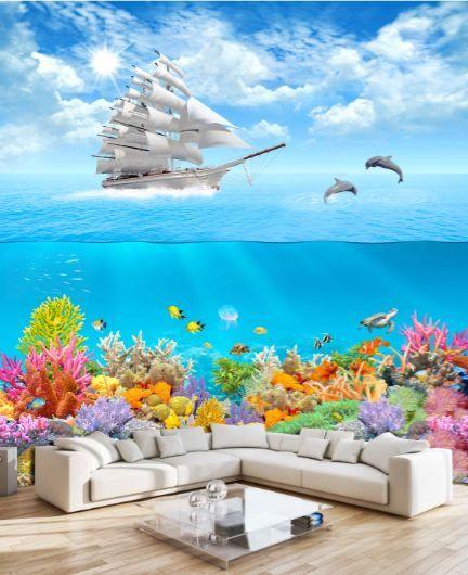 3D Vela, delfino  Parete Murale Foto Carta da parati immagine sfondo muro stampa