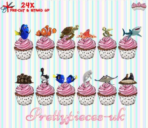 Finding dory 24x stand-up pre-cut plaquette papier cup cake toppers