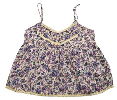 Billabong BASICALLY FOVEVER Cream Blue Purple Floral Lace Cami Junior/'s Tank Top