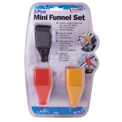 Streetwize Mini Funnel Set Plastic Bottle Pour House Kitchen Garage Garden x 3