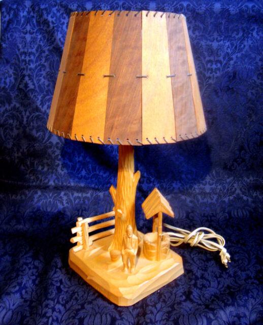 VINTAGE FOLK ART WOOD CARVED LAMP P. E. CARON QUEBEC CANADA