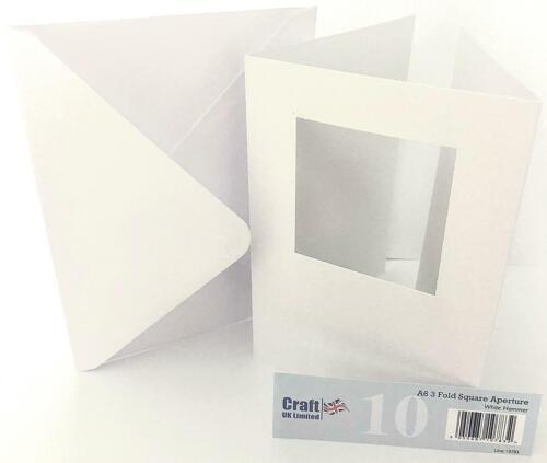 Craftuk 10 A6 Trifold cartes Ovale Carré Rectangle Ouvertures Blanc Ivoire Marteau