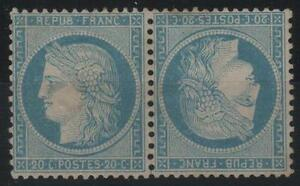 FRANCE-STAMP-TIMBRE-N-37-c-034-CERES-20c-BLEU-PAIRE-TETE-BECHE-034-NEUF-x-TB-K661