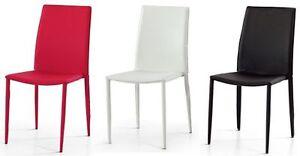 Sedie in ecopelle Bianche, Nere o Rosse Set di 6 Pezzi | eBay
