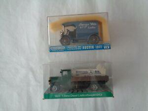 Vintage-Diecast-Escala-1911-Austin-camion-y-Cursor-Modell-1923-Mercedes-5k3-En-Caja