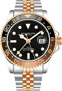 Stuhrling-Aqua-Diver-3968-Swiss-Quartz-Men-039-s-2-Tone-Bracelet-Black-Dial-Watch
