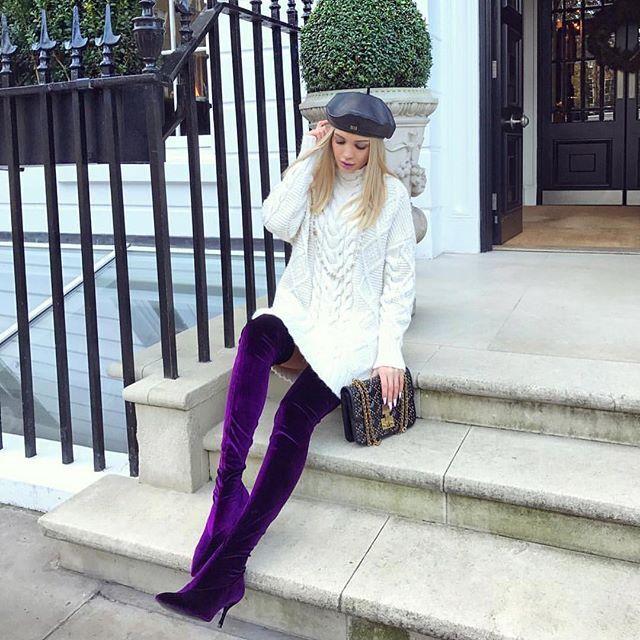 Zara Aubergine Velvet Over the Knee High heel bottes Taille 37,38,39,41