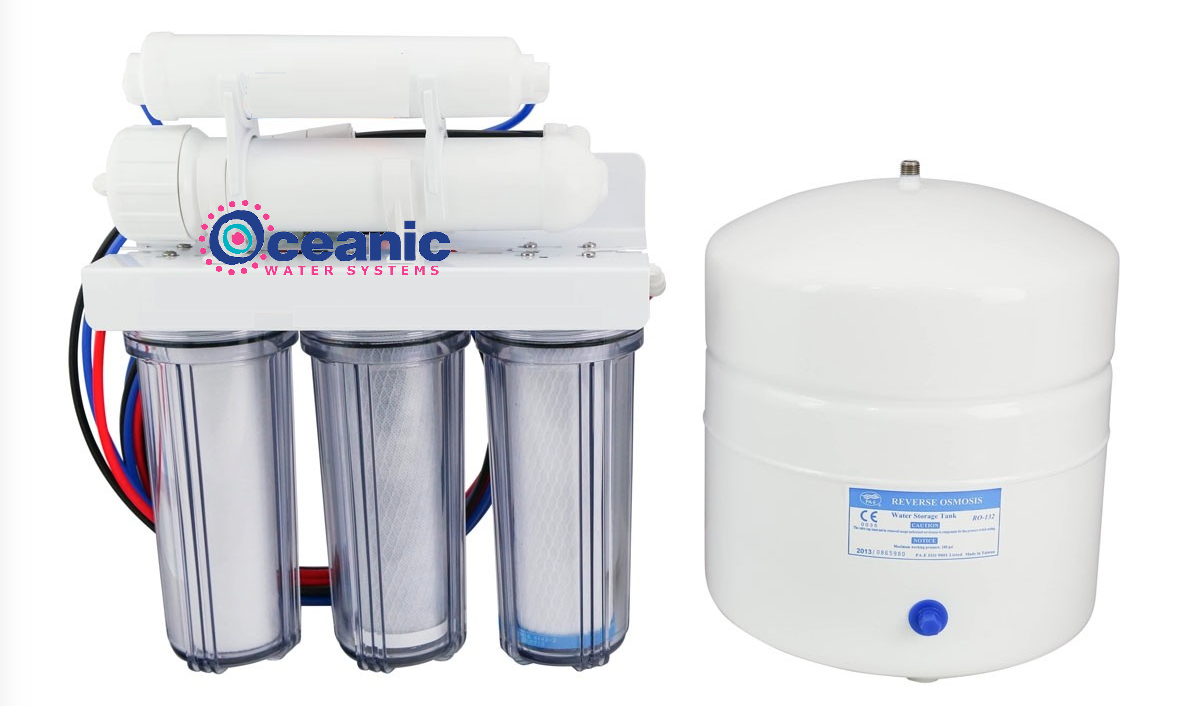 Oceanic 5 Stage 100 GPD RO Reverse Osmosis Water Filter System Clear Housing USA