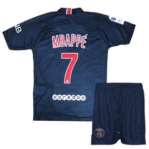 check out eb614 3092b Details about PSG Mbappe Jersey Shirt #7 Home Kids Soccer Jersey Set Youth  Football Kits
