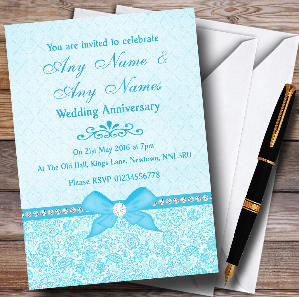 Joli nœud Strass Aqua personnalisées Bleu ciel invitations personnalisées Aqua Fête Anniversaire 89683f