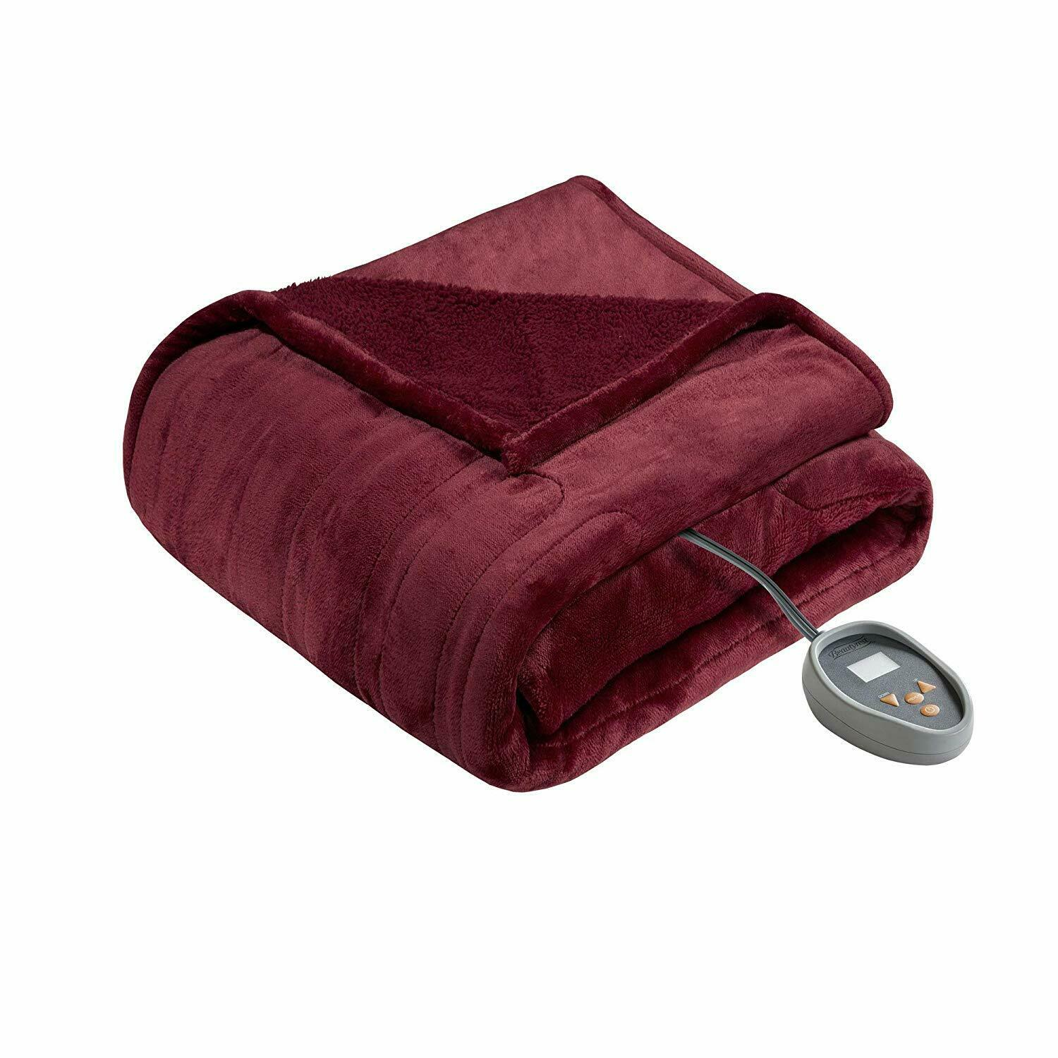 Beautyrest Red Electric Blanket with Two 20 Heat Level Setting Controllers