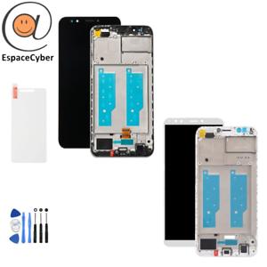 LCD-Ecran-tactile-Huawei-Y7-2018-Noir-Blanc-sur-Chassis-Frame-Cadre-LDN-L21