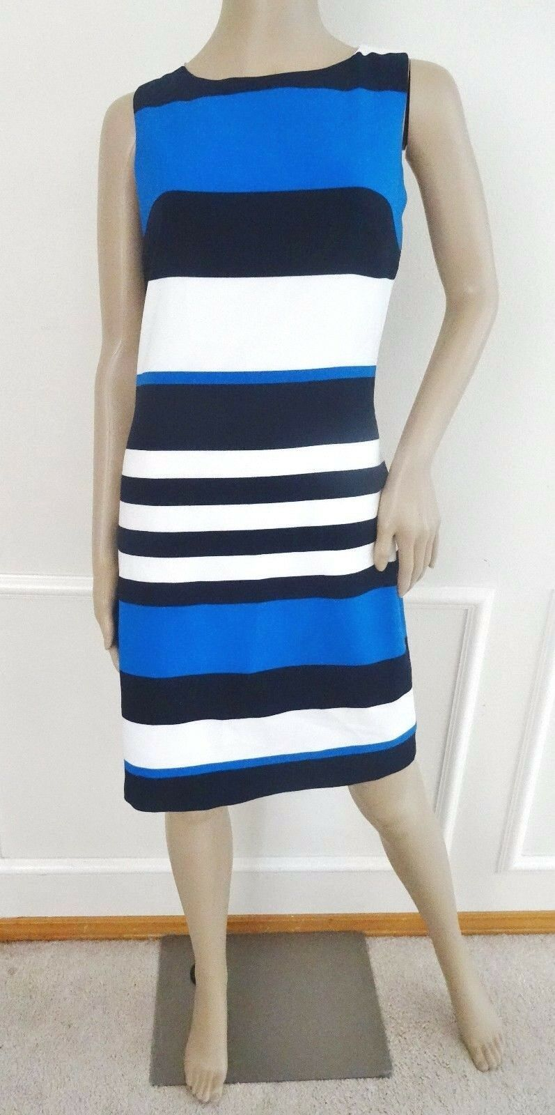 Nwt Lauren Ralph Lauren Stretch Sheath Work Day Dress Sz 8 Blau Ivory Block