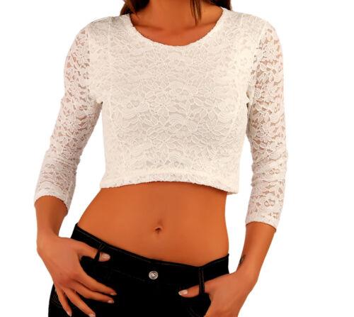 Shirt bauchfrei 34/36 Spitze weiß schwarz Spitzenshirt Partyshirt weiss Stretch