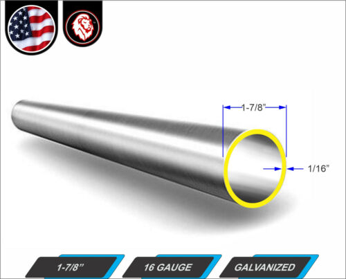 """24/"""" inches long 1-7//8 Galvanized Round  steel Tube 2-ft 16 gauge"""