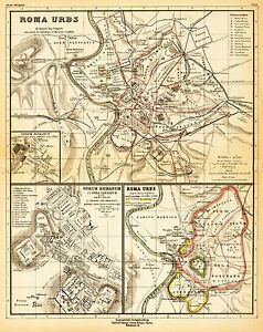 MAP-ANTIQUE-KIEPERT-1903-ANCIENT-ROME-CITY-PLAN-REPLICA-POSTER-PRINT-PAM0966