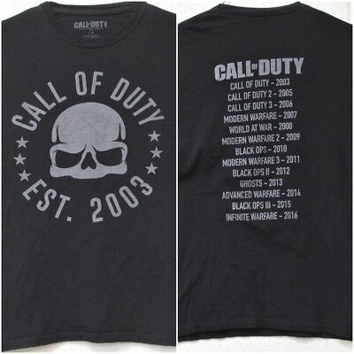 Call Of Duty 2003 2016 Game Release Timeline 2 Sided T Shirt Large Black Gamer Ebay