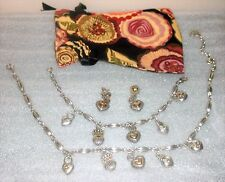 Brighton CHARMED Hearts & Crowns Necklace, Bracelet Earrings Set + Pouch