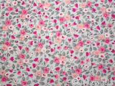 Tela, Algodón Flores gris rosa impactante rosa Florencia Eco-tex Flores flores