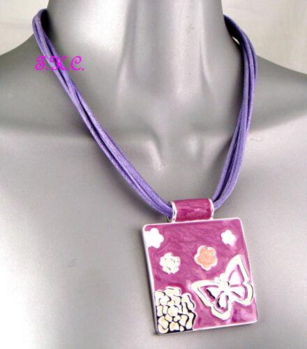 Purple Peach Cloisonné Shimmer Enamel Butterfly Mod Art Feature Pendant Necklace