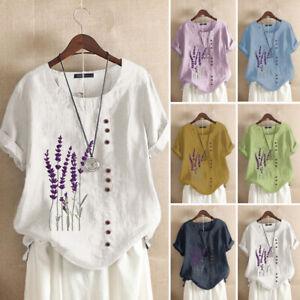 ZANZEA-Womens-Linen-Cotton-Summer-Tee-Shirt-Top-Retro-Floral-Embroidered-Blouse