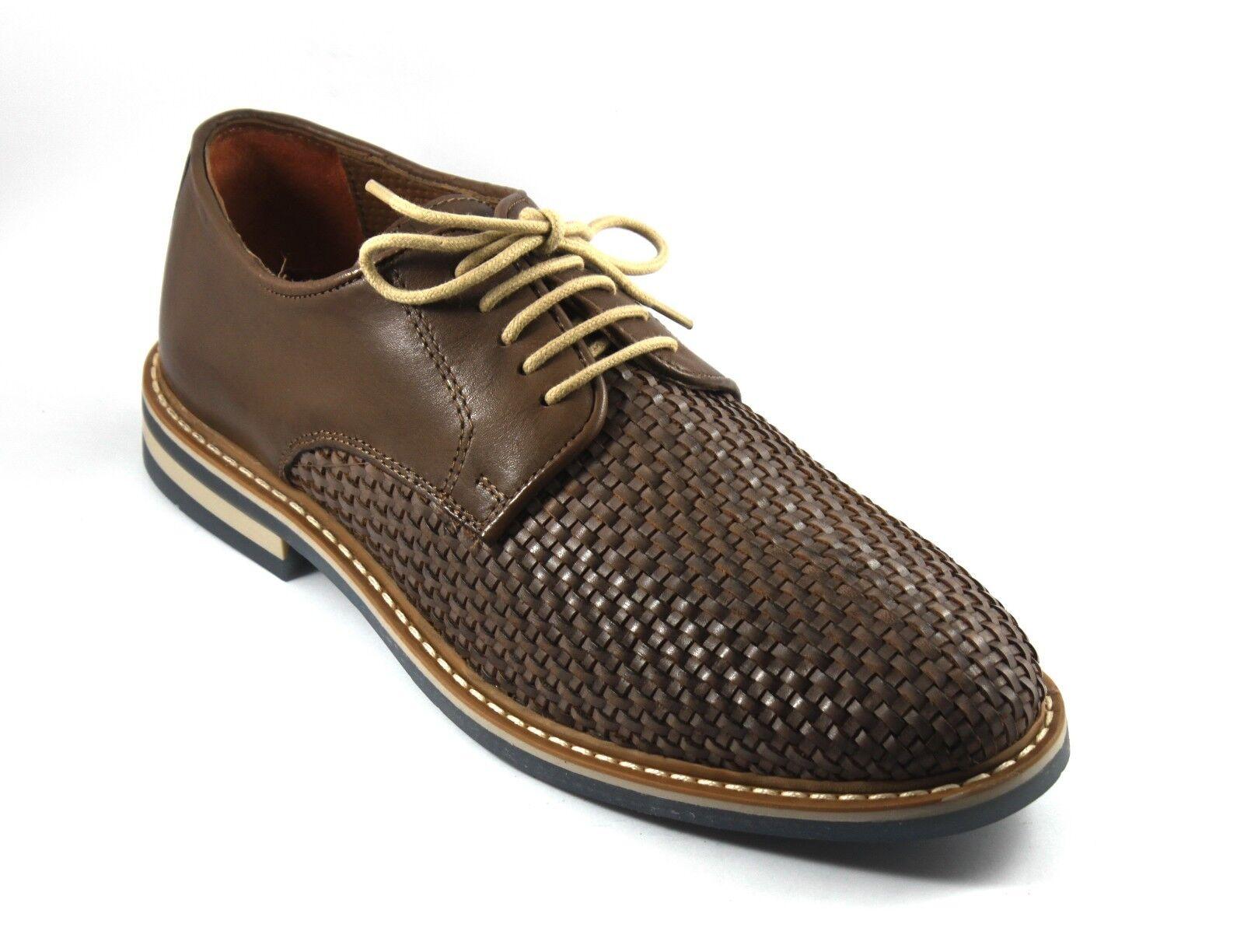 Zapatos Zapatos Zapatos hombre CASUAL IN PELLE MARRONE INTRECCIATA ALLACCIATE 99b7ce