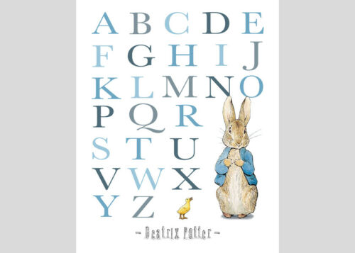 Peter Rabbit 5x7 or 8x10 Alphabet /& Numbers Set of 3 Boys Nursery Prints