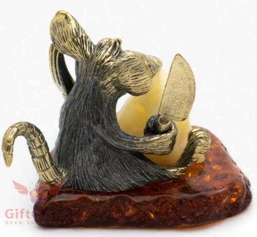 Brass Amber Figurine of hungry mouse rat cheese Symbol of 2020 New Year IronWork