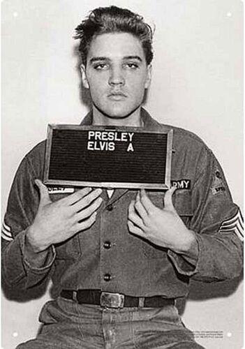 Presque comme neuf Elvis Presley enrôlement Photo Métal Signe 290 mm x 200 mm