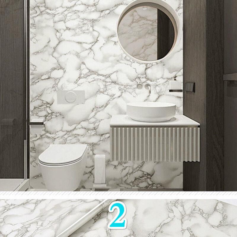 5M Marble Grain Wallpaper Wall Sticker Skirting Border Waterproof Home Decor DIY