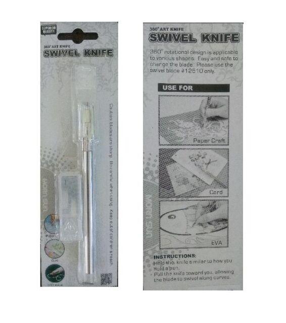 SWIVEL KNIFE Craft 360 degree Cuts Curves Stencils Film Paper 2 extra Blades