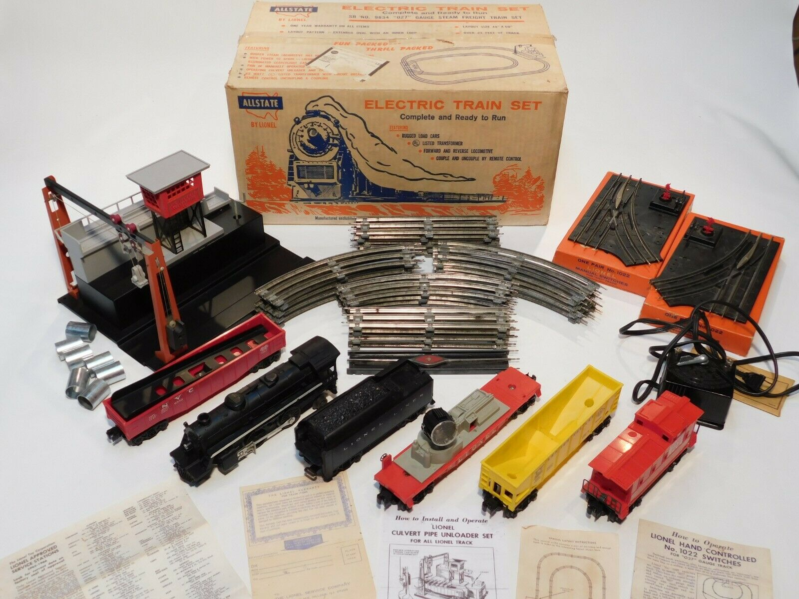 SEARS 9834 ALLSTATE BY LIONEL SET BOX w COMPONENTS 346,237,6176,6822,6342,6059