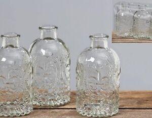 3-Stk-VASE-Vintage-Glas-klar-Nostalgie-Blumenvasen-Tischdeko-Hochzeitsdeko-Lilie