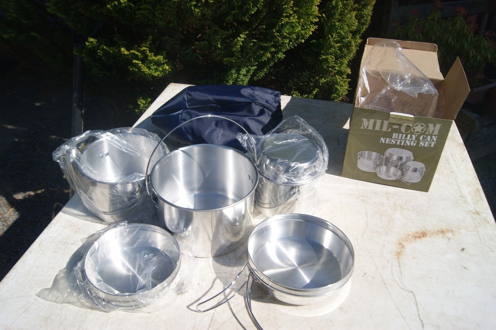 Nesting Billy Can 6 Piece Cooking Outdoor Camping Stove Pots & Pans Nest Tin Set