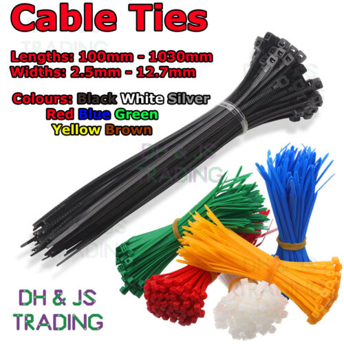 Nylon Cable Ties Plastic Zip Tie Wrap Black White Red Green Brown Blue Yellow