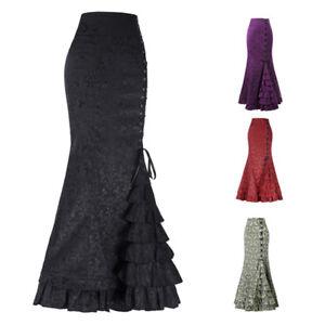 496381b369728 Image is loading Vintage-Women-Gothic-Long-Steampunk-Skirt-Mermaid-Maxi-