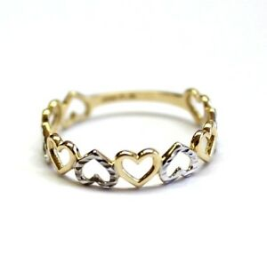 14K-Ring-White-and-Yellow-Gold-Heart-shape-Sizable