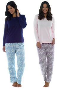 c9d34fc34a ladies pyjamas fleece bottoms jersey top womens uk 8-18 night wear ...