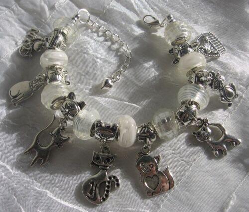 BRACELET perles rondelles européennes verre blanc breloques HISTOIRE DES CHATS