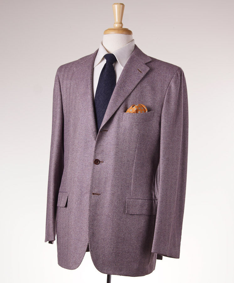 NWT 9745 KITON Lavender Herringbone Cashmere-Vicuna Sport Coat US 44 R (Eu 54)
