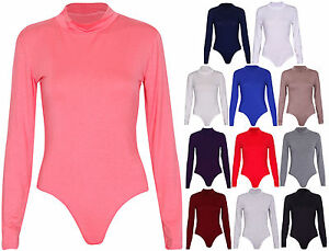 Womens-New-Plain-Long-Sleeves-Ladies-Bodysuit-Stud-Polo-Turtle-Neck-Leotard-Top