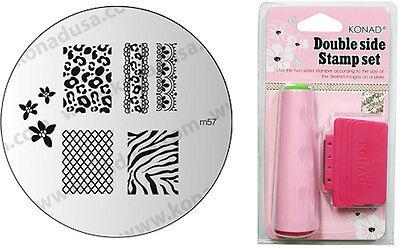 Konad Stamping Nail Art Image Plate M57 Zebra + Dual Side Stamp Scraper Set