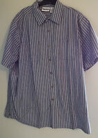 Men's Dress Casual Shirt Navy Stripe 2 Chest Pocket Side Vents Sizes 2xl - 5xl