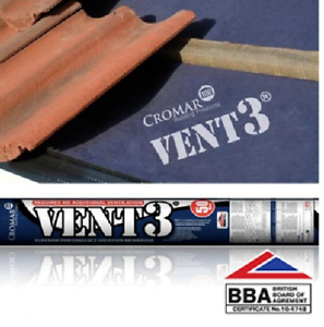 Cromar Vent 3 Breather Membrane | Breathable Roof Felt | 1 x 50m | BBA Approved