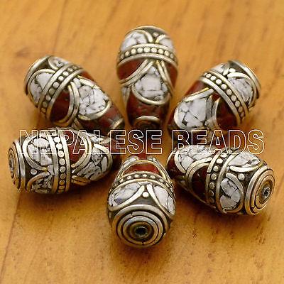 UB2269 Nepalese Artisan Red Coral Howlite White 6 Beads from Nepal by Eksha