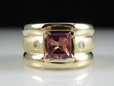Tourmaline Diamond Ring 14K Yellow Gold Pink Square Princess Gypsy Set Wide Band